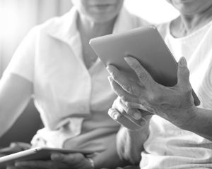 patient using tablet device